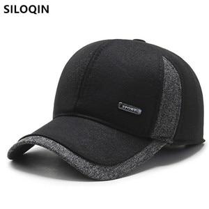 SILOQIN Snapback Cap Winter Men's Thermal Earmuffs Hats Thick Warm Baseball Caps For Men Adjustable Size Sports Cap Senior Hat