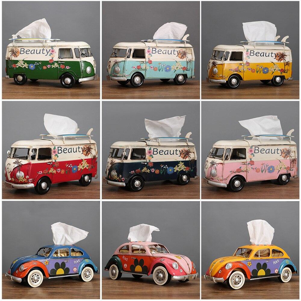 متعدد الألوان حافلة التماثيل السيارات الكلاسيكية الرجعية الأنسجة صندوق ديكور المنزل الحلي الحرف Vintage الحلي غرفة المعيشة ديكور