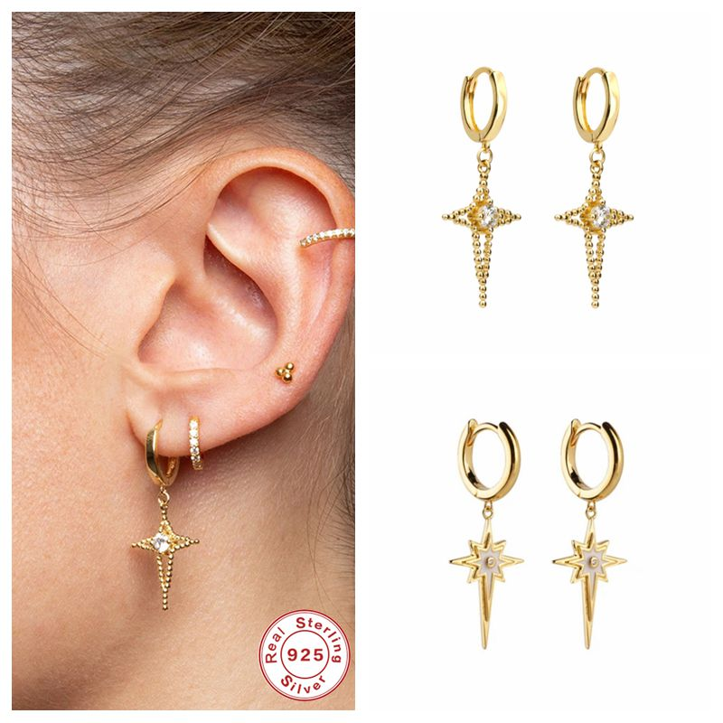 Echtes S925 Sterling Silber Huggie Hoop Ohrringe für Frauen Mädchen Lovers Kreuz Anhänger Knorpel Ohrring Pendientes Oorbelle