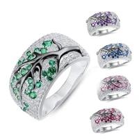 luxurious elegant female plum tree branch ring sterling silver diamond alexandrite decoration casual wedding ring jewelry