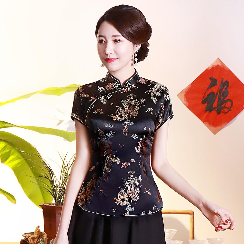 Classic Slim Hand Made Button Chinese T-shirt Elegant Black Dragon Phoenix Women Qipao Vintage Mandarin Collar Cheongsam 4XL