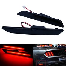 Angrong fumado preto lente led lado marcador refletor lâmpada de luz para ford mustang 2015-up