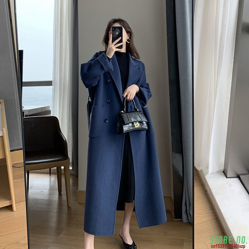 2021 Women Coat Outerwear Spring Clothing Fashion Warm Woolen Blends Female X Long Elegant Double Br