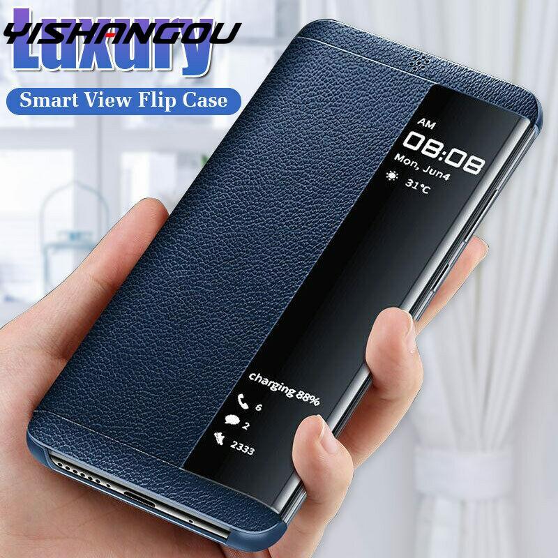 PU deri + sert PC akıllı pencere görünümü inek derisi Flip Case Huawei P40 Mate 30 Pro P20 P30 Lite P akıllı artı Y7 Y6 Y5 başbakan 2020