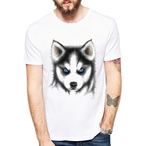 Men's and Male Clothing Cute pug design Dog Siberian Husky Printed T Shirts Cute Dog Short Sleeves T-shirt oversized plus size
