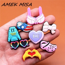 1pcs Blue Hoodie Shoe Charms Heart Shaped Glasses Sandals Bra Bow BAE Shoes Accessories Decoration F