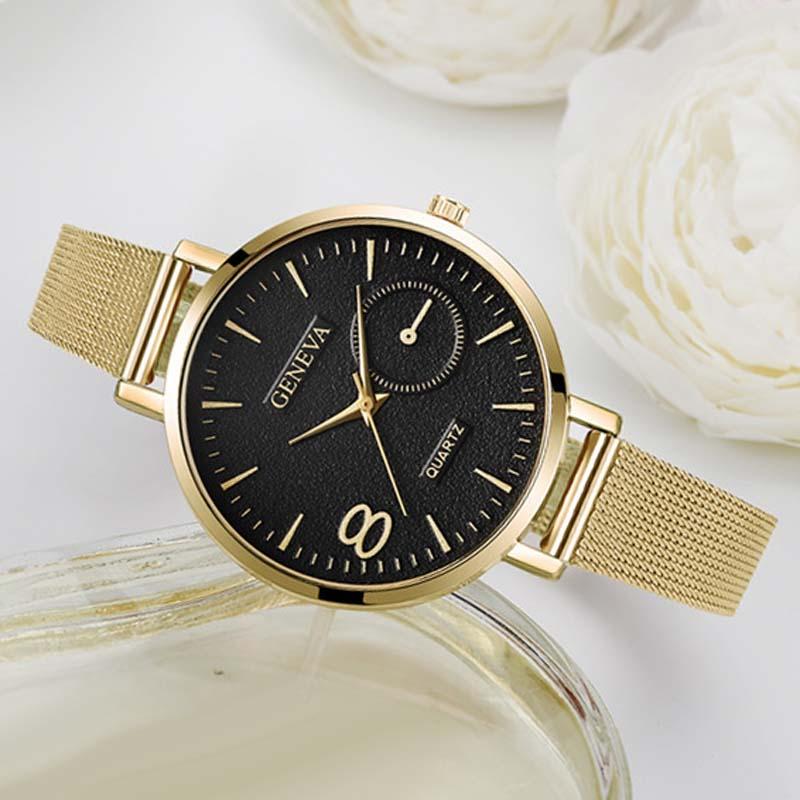 2020 Women Gold Watches Geneva Stainless Steel Mesh Band Quartz Wristwatches Luxury Ladies Watches R