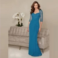 glamorous chiffon blue beading bodice mother of the bride dresses plunge neckline wedding party gowns with 34 sleeves