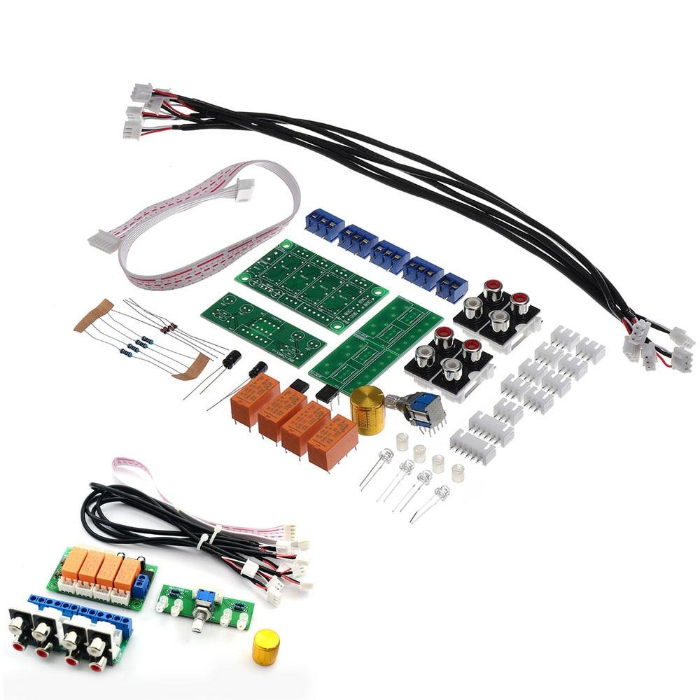 LEORY relé 4 vías de entrada de Audio Selector de señal de conmutación Kit RCA entrada de Audio placa de selección de conmutación rotativa para amplificador
