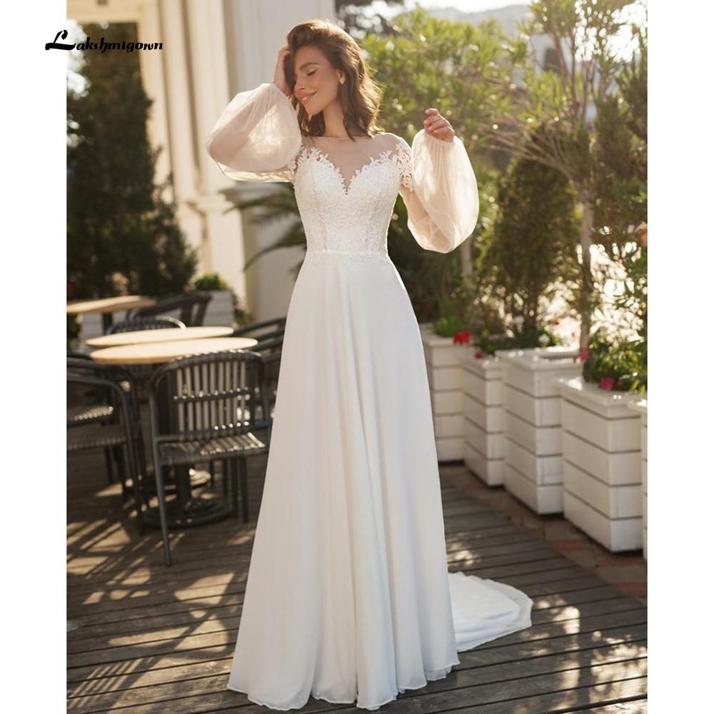 Trajes de novia largos de encaje, manga larga, para playa, boda, 2021