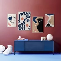 modern abstract simple blue geometric color block figure image line girl bedroom wall art decoration picture frame canvas poster