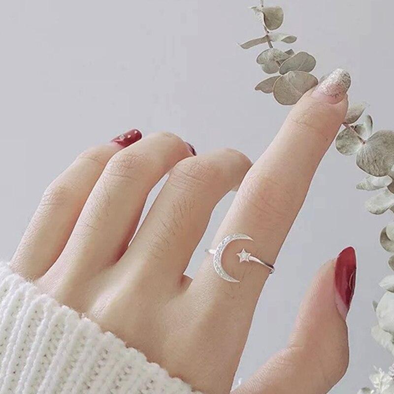 De cristal de moda de estrella y Luna anillo romántico joyería de las mujeres de la boda aniversario promesa de boda para mujeres regalo de las mujeres