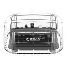 ORICO 2 Bay Transparent SATA to USB-C 3.0 Hard Disk Docking Station USB3.0 Enclosure Base for 2.5/3.5 inch HDD SSD Hard Disk Box
