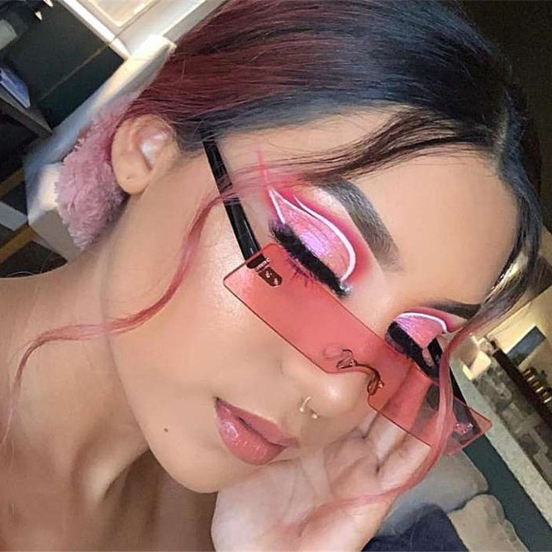 Rectangle Sunglasses Women 2020 Fashion Luxury Brand Designer Red Pink Clear Small Lens Personality