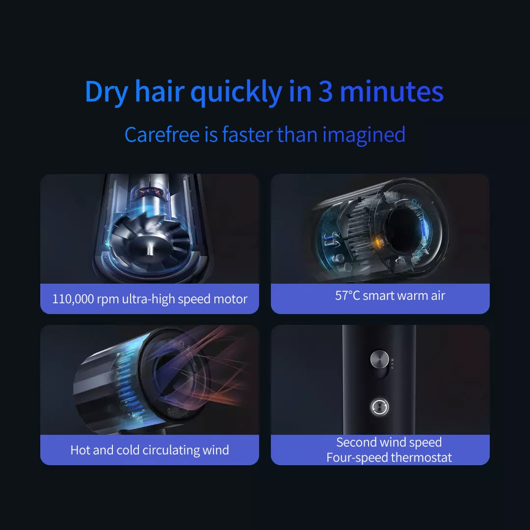 TUOUVER High-speed Electric Blowing Hair Dryer Supersonic Salon Blow Drier Hot/Cold Air Wind Anion Constant Temperature For Hair enlarge