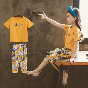2020 Summer kids baby Girls Clothes Child Tops t shirt + pirate Shorts capri pants teenager girl Tracksuit 6 8 9 10 11 12 Years