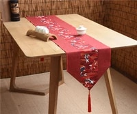 latest lucky fish patchwork table runner natural cotton linen dining table mat christmas wedding party table cloth rectangle