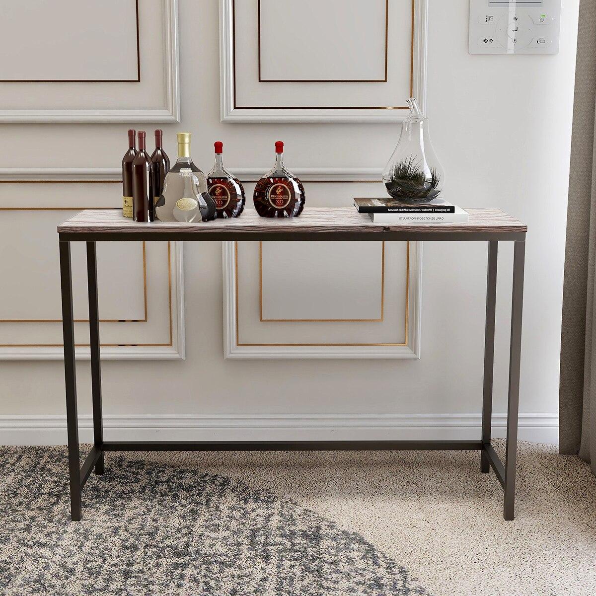 Mesa de consola Industrial sofá con marco metálico Escritorio de mesa para recibidor pasillo sala de estar hogar Oficina fácil montaje