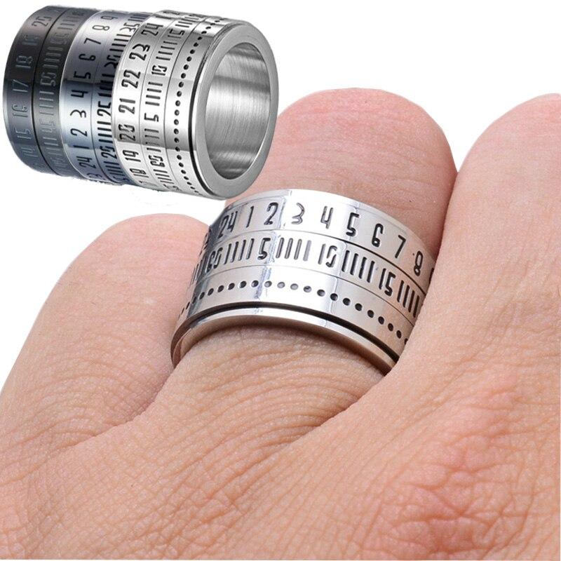 Men's Gift Ring Multi Layer Spinner Rotating Arabic Calendar Time Titanium Steel Finger Rings Hobby & Collection