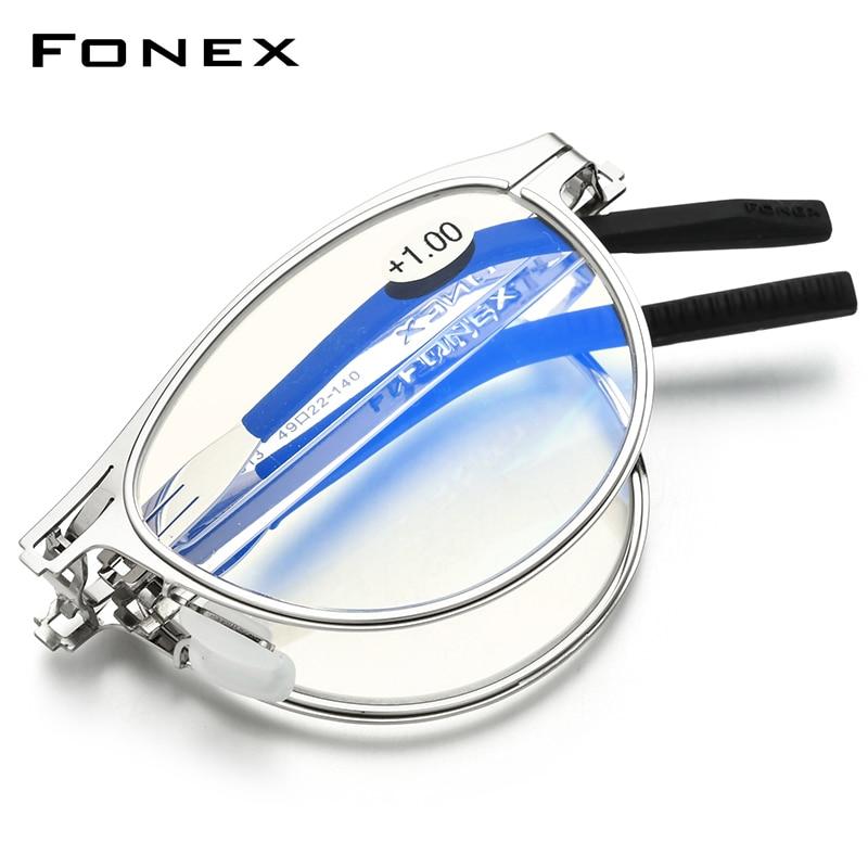FONEX مكافحة الأزرق حجب للطي نظارات للقراءة الرجال النساء 2020 قصر النظر الشيخوخي الديوبتر بدون مسامير طوي نظارات LH013
