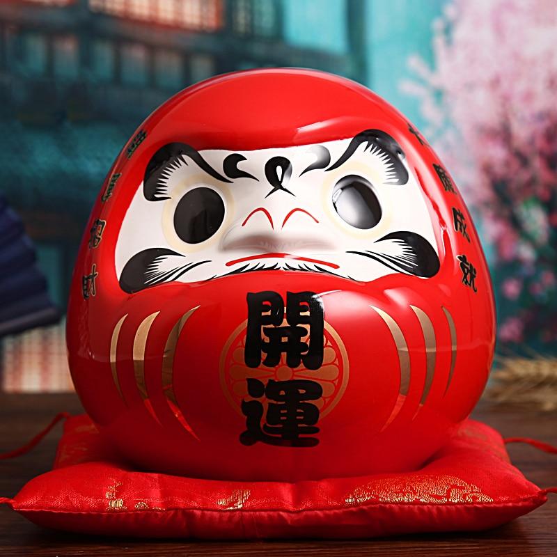[MGT] muñeca Daruma de cerámica japonesa de 7,5 pulgadas, amuleto de la suerte, adorno Fengshui Zen, caja de centro de mesa, Decoración de mesa para el hogar