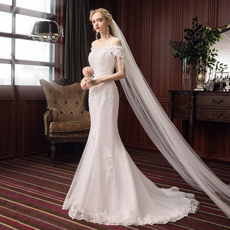 Promo 2021 luxury design fashion celebrity banquet tuxedo temperament sexy elegant SLIM STRAIGHT shoulder fishtail wedding dress