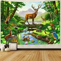 simsant animal deer tapestry forest parrot mountain wall hanging tapestries for living room bedroom dorm home blanket decor