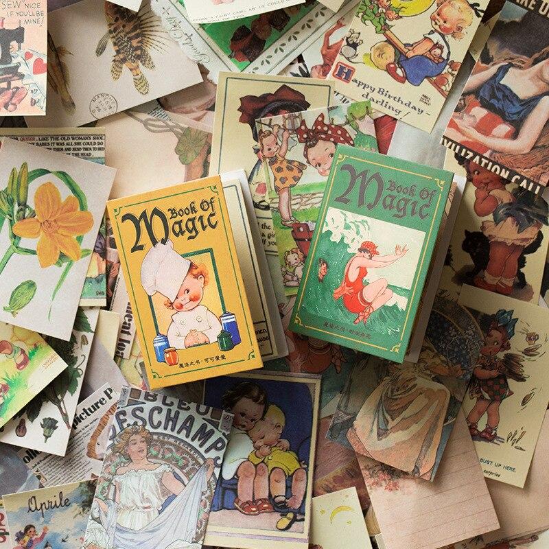 100 hojas Magic Book Series Memo Pad Retro manual portátil diario DIY Material decorativo papel Mini nota papelería