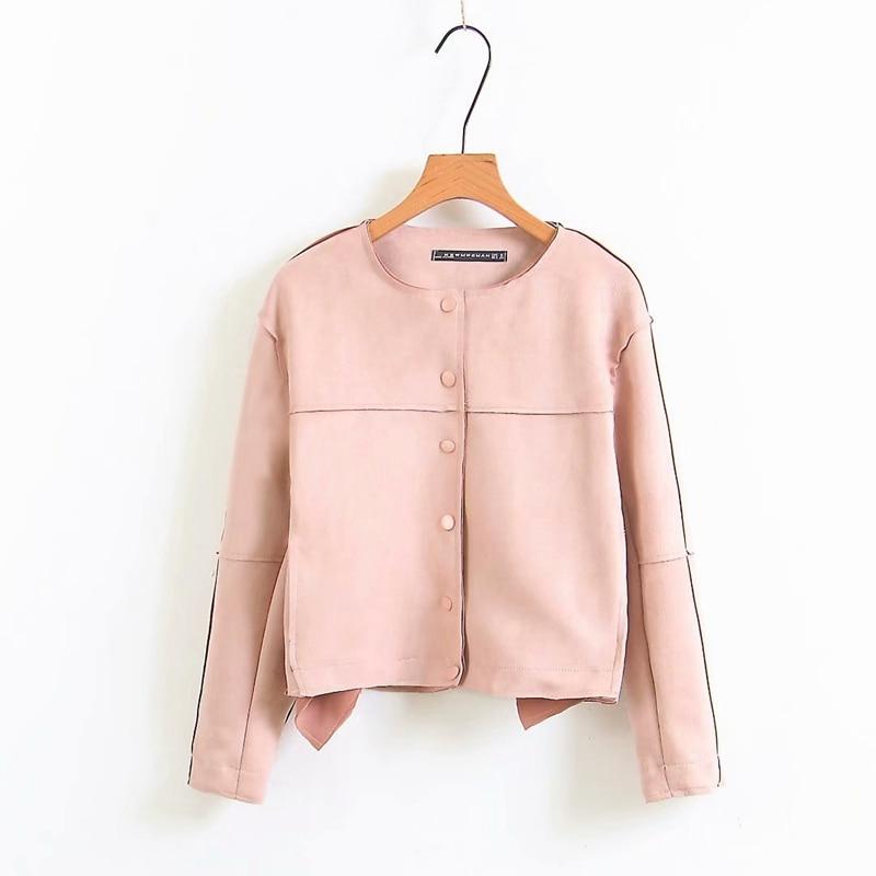 Faux PU Leather Suede Short Jacket 2019 Spring Fashion O neck Biker Jackets Patchwork Long Sleeves Autumn Coat XZ2162