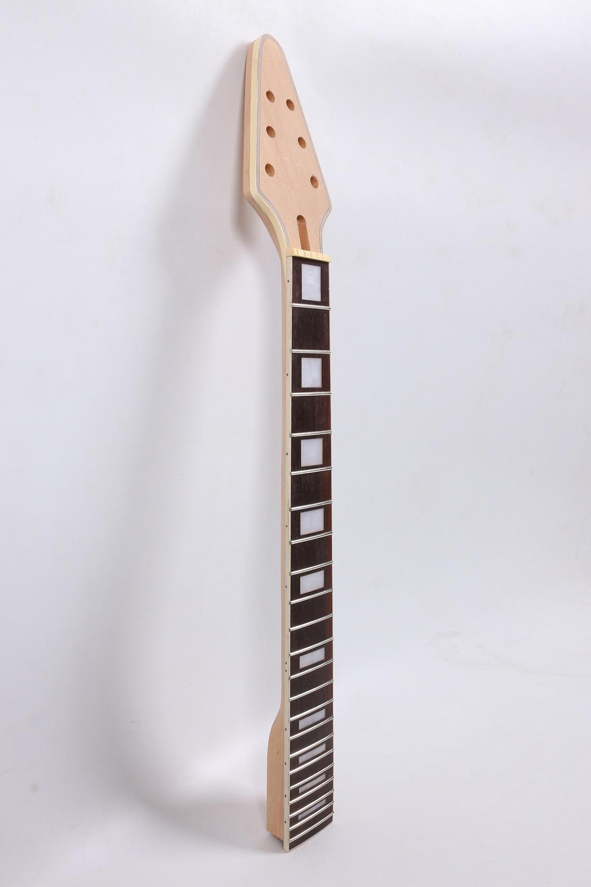 El vuelo triangular 25,5 pulgadas 648 mm 22 traste guitarra eléctrica cuello sin terminar mahogany make y diapasón de palisandro
