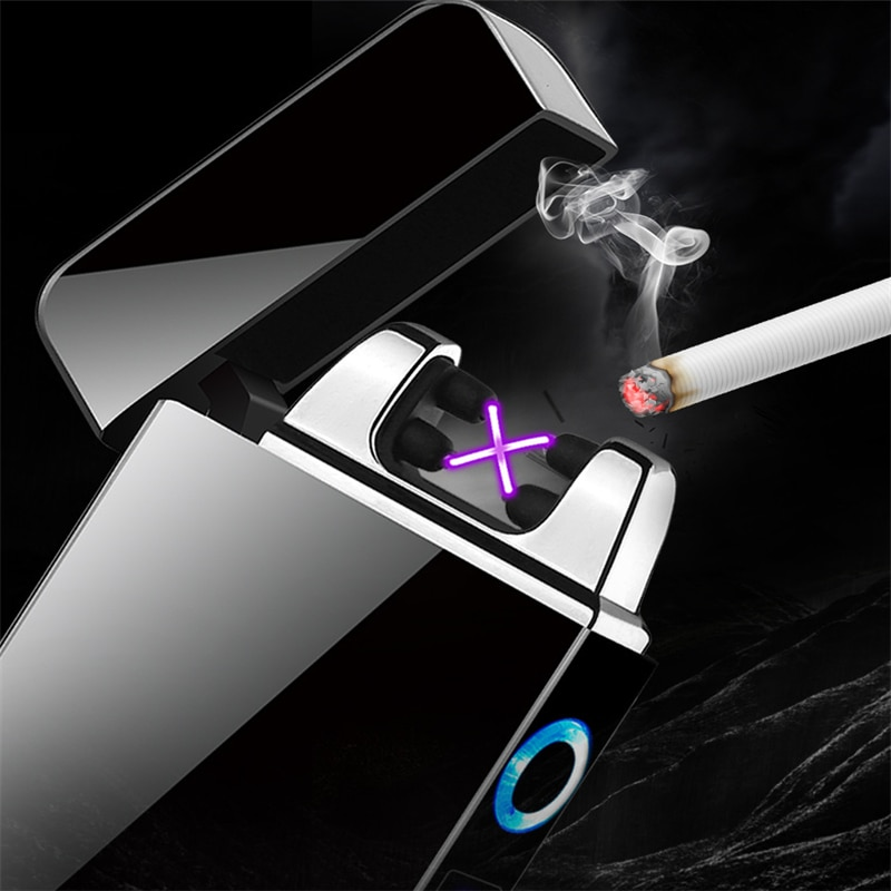 Electric Dual Arc Lighter USB Windproof Flameless Plasma Lighters Smoking For Cigarettes With LED Power Display Men Gadget Gifts enlarge