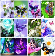 Yikexin pintura diamante borboleta mosaico de diamante animal ponto cruz artesanal strass imagens exibição completa casa decoração presente