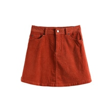 2021 Spring New HC ● Brick Red A- line Short Skirt Pure Cotton Women's Clothing