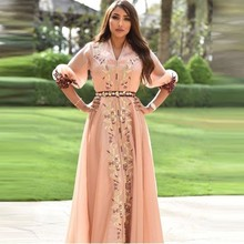 Pink Flower Dubai Evening Gowns Women Plus Size Puffy Sleeve Moroccan Kaftan Islamic Saudi Arabic Pr