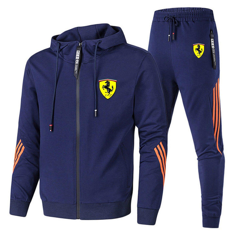 Осенне-зимний модный брендовый мужской свитер на молнии с капюшоном + повседневные спортивные брюки Ferrari, спортивный костюм из двух предмет...
