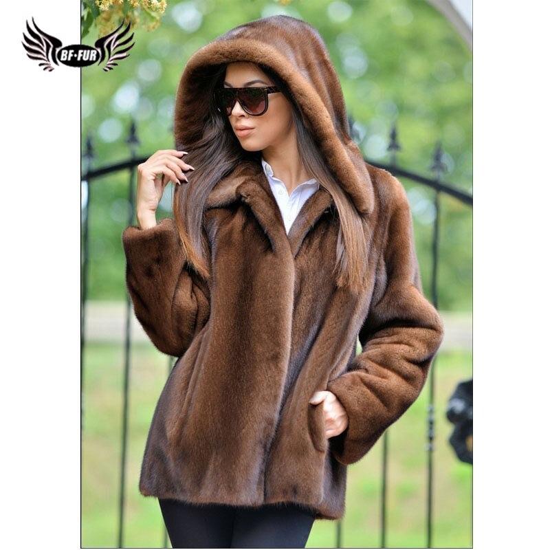 BFFUR Fashion Women Real Mink Fur Coat With Hood Winter Warm Natural Mink Fur Jackets Plus Size Female Overcoats Full Pelt Woman недорого