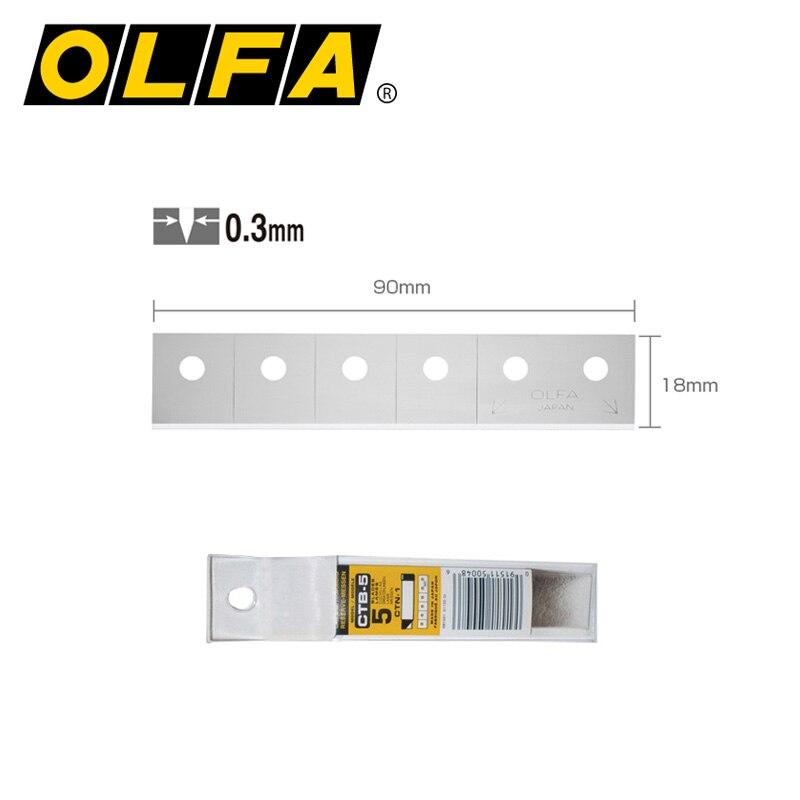 Promoção japão original olfa ctb-5 r carton cutter blade aplicar a Ctn-1 em pedaços de blister pacote 18mm