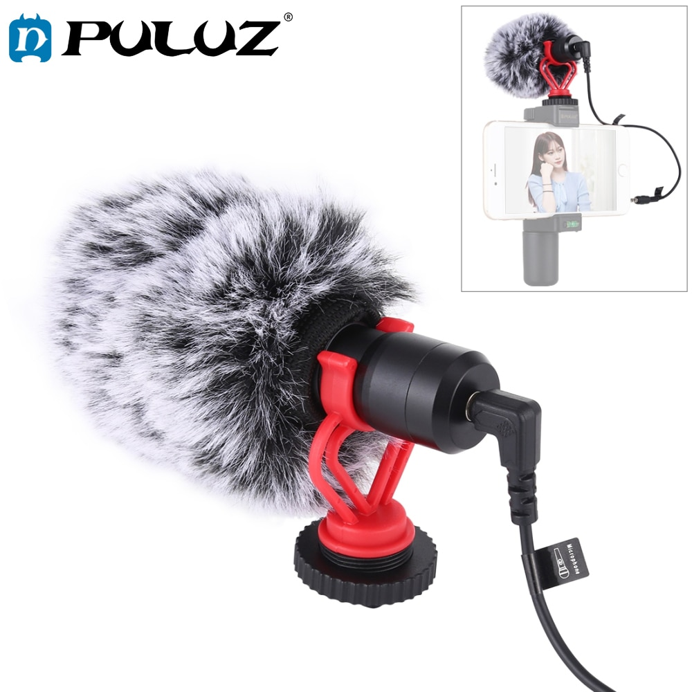 PULUZ Microphone Metal with 3.5mm Audio Cable For Huawei Smartphone for Canon Nikon Sony DSLR Camera Consumer Camcorder