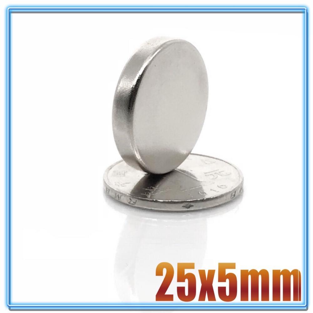 2/5/10/20 unidades 25x5 imán de neodimio 25mm x 5mm N35 NdFeB redondo Super potente fuerte permanente imanes disco 25*5