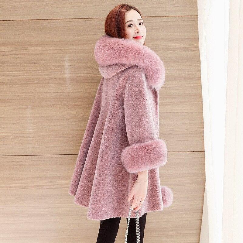 معطف نسائي من فرو الثعلب الحقيقي ، معطف 100% ، فرو الأغنام ، مقاس 2835-1 ، LXR100