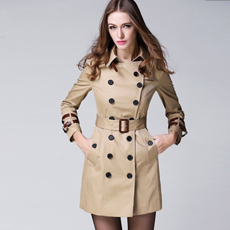 2020 High-end British Style Coat Double Breasted Ladies Windbreaker For Womens Elegant Trench Brand Jackets Coats