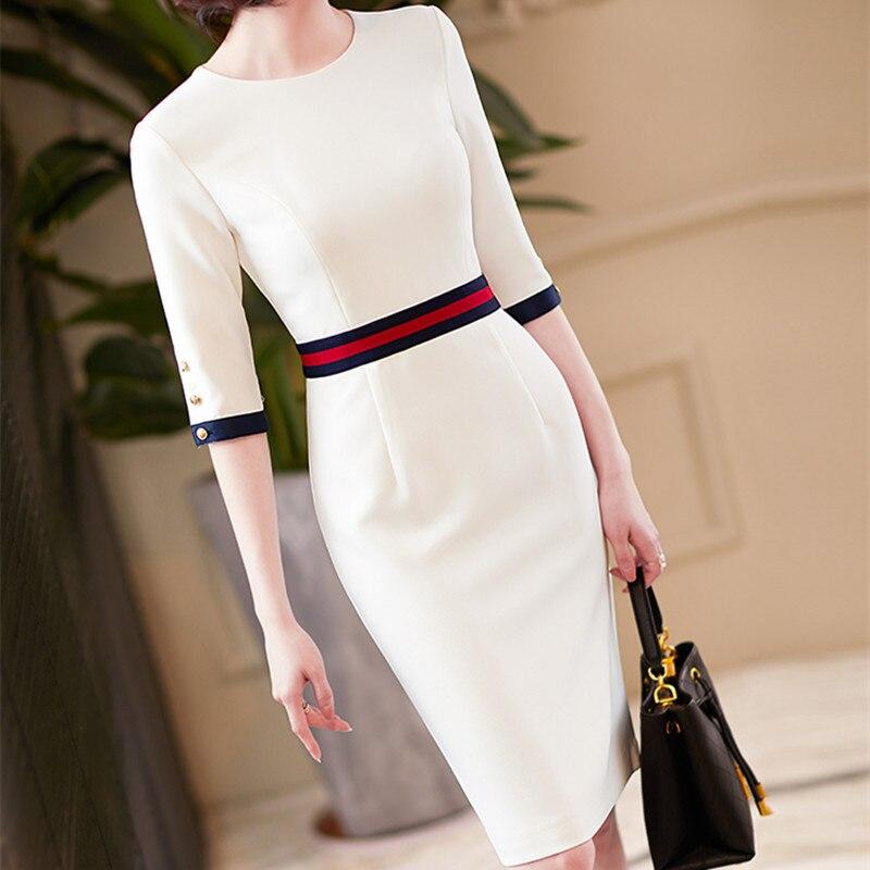 2020 nova chegada elegante o pescoço vestidos das mulheres de alta qualidade senhora do escritório trabalho formal negócio fino lápis vestido roupas plus size