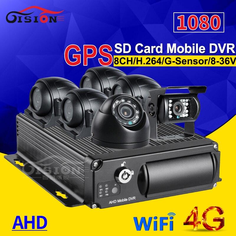 6 uds CÁMARA DE COCHE 2.0mp Kits de cámara Dvr + 8CH 4G GPS Wifi tarjeta SD vehículo móvil Dvr Video/grabadora de Audio Venta caliente