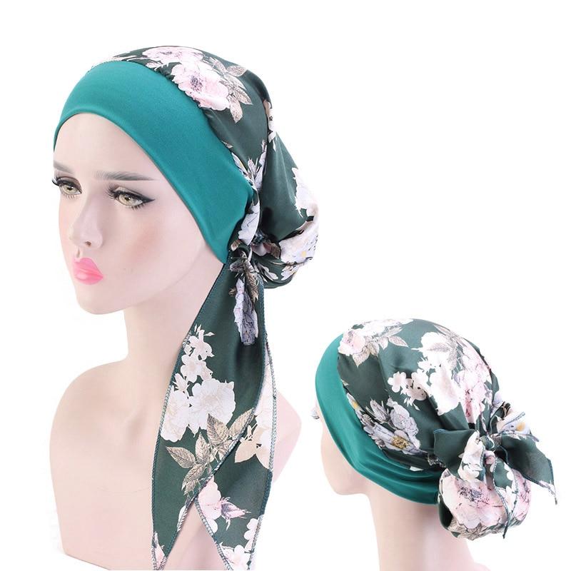 Мусульманский хиджаб для женщин, цветочный принт, предварительно завязанные головные уборы, широкая повязка с бантом, женская шелковая атл...