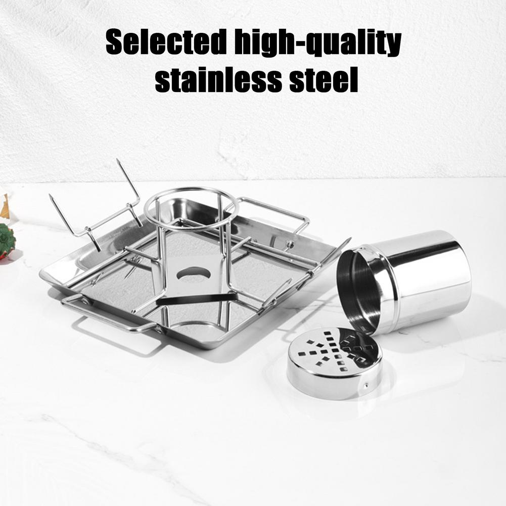 BBQ Chicken Roaster Beer Wine Chicken Holder Grill Rack Stainless Steel Vegetable Barbecue Pan Outdoor BBQ Accessories 8 inch