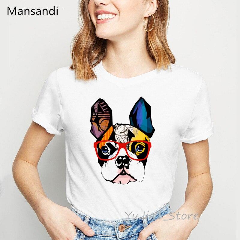Camiseta con estampado de animal Bulldog francés colorido para mujer moda de verano camiseta de moda para mujer harajuku kawaii ropa camiseta blanca