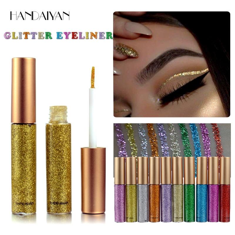 Жидкая блестящая подводка для глаз, ручка с алмазным металлическим блеском, тени для век и подводка, комбинация карандаш для глаз, макияж, св...