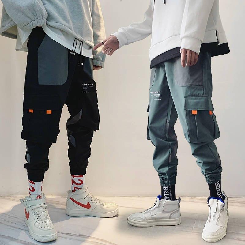 2019 bolsillos Cargo Harem Pantalones Hombre Casual Joggers holgados pantalones tácticos Harajuku Streetwear Hip Hop moda Swag pantalones masculinos