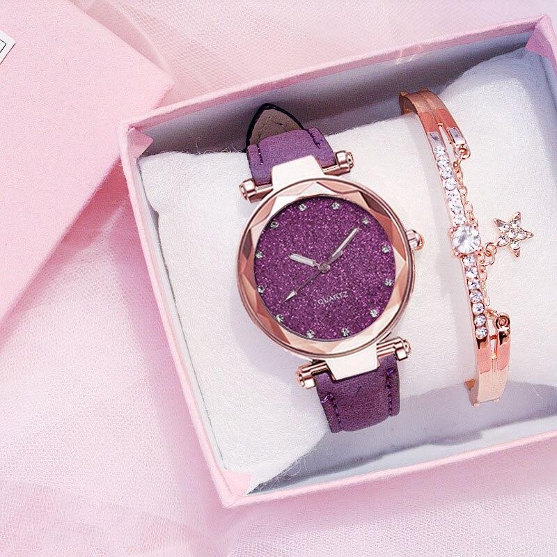 Reloj de pulsera de moda para mujer, reloj de pulsera con cielo estrellado, reloj de pulsera para mujer de cuero, diseñador de diamantes de imitación, reloj sencillo para mujer