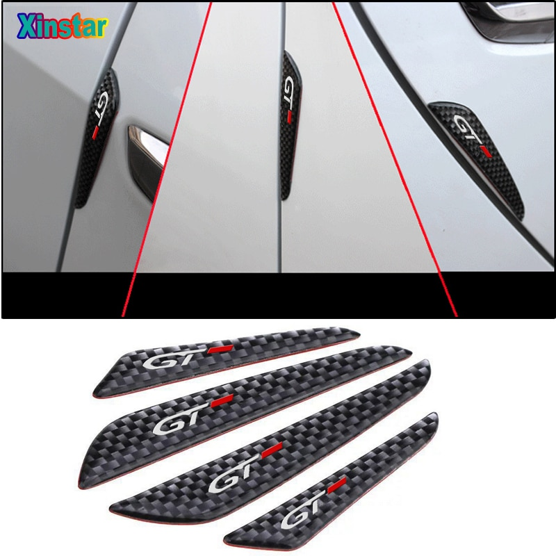 4pcs Carbon fiber GT Car Door Stickers For Peugeot GT 106 108 206 207 208 308 408 508 2008 3008 4008 5008